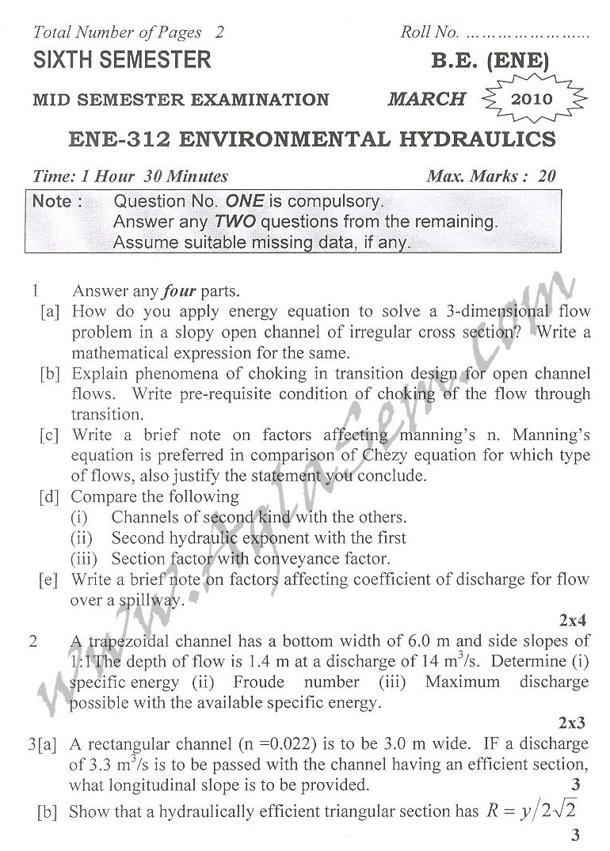 DTU Question Papers 2010 – 6 Semester - Mid Sem - ENE-312