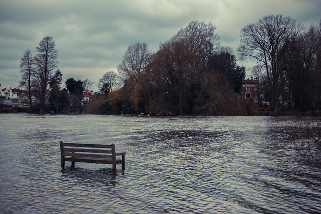 River Thames burst its banks at High Tide in Richmond, London