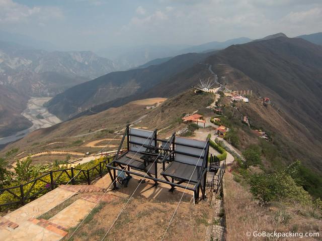 View of Parque Nacional del Chicamocha, located along a mountain ridge