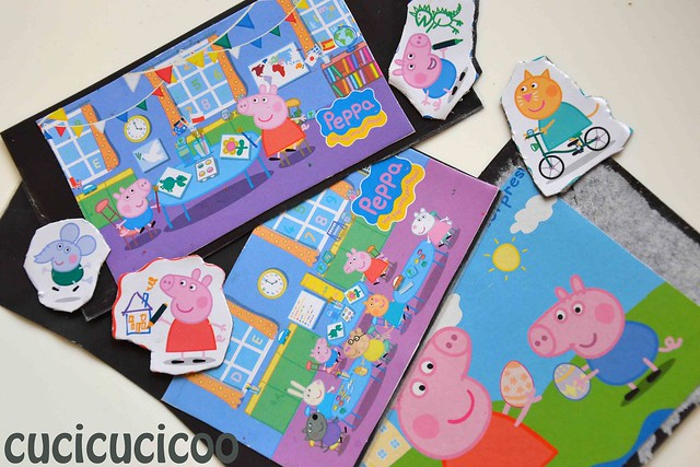 gluing peppa pig pieces onto scraps of magnet lamination sheets