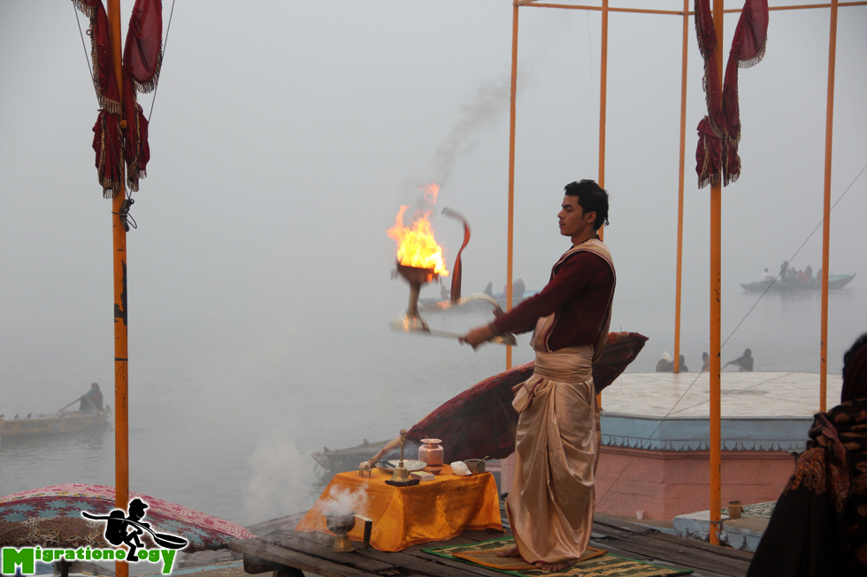 Morning ceremony along the Ganges River