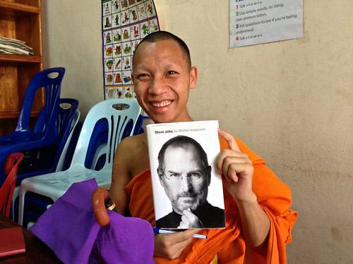 A novice monk at big brother mouse tutoring center in Luang Prabang