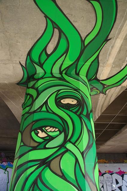 Hiding in Concrete Jungle - Adelaide street art