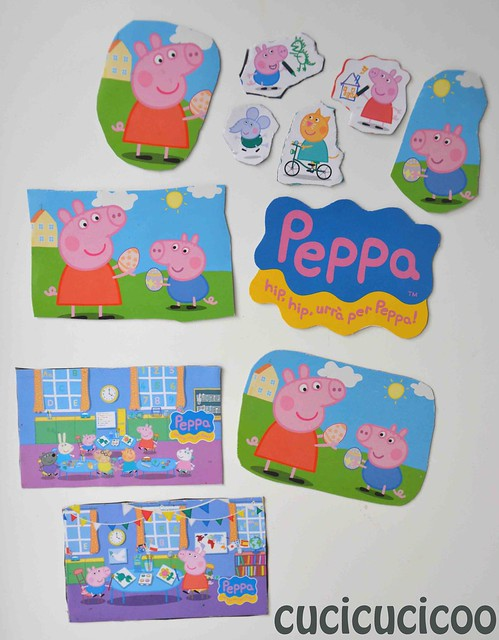 peppa pig upycled homemade magnets