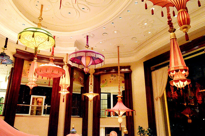 Color lantern chandeliers at the Wynn