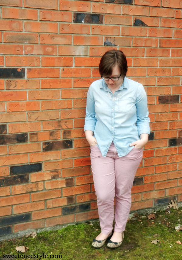 chambray, pink cords, leopard flats