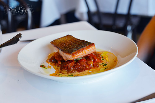 Ocean trout, choizo, pickled fennel, roasted peppers & crab bisque