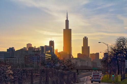 chicago sunrise ramp traffic freeway rays expressway sunrays eisenhower 290 chicagoist