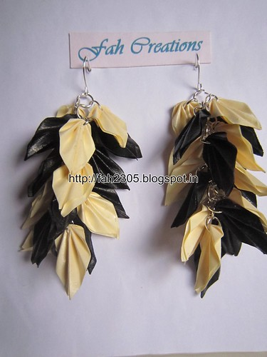 Handmade Jewelry - Origami Paper Leaves Earrings (2) by fah2305