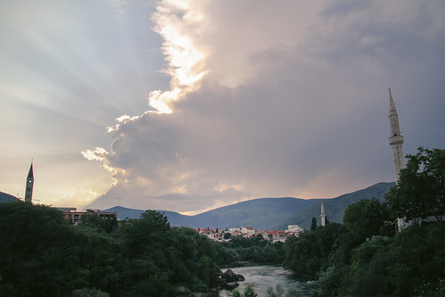 orient occident mostar sunset river view mosque church croatian bosnian muslim christian bosnia hercegovina herzegowina travel