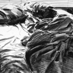 Unmade bed 3; charcoal, 22 x 30 in, 1987