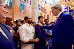 U.S. Secretary of State John Kerry greets employees after addressing and thanking them and their colleagues for their service during a visit to U.S. Embassy Dhaka in Dhaka, Bangladesh, on August 29, 2016. [State Department Photo/ Public Domain]