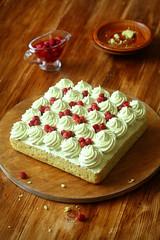 Pistachio and Wild Strawberry Cake