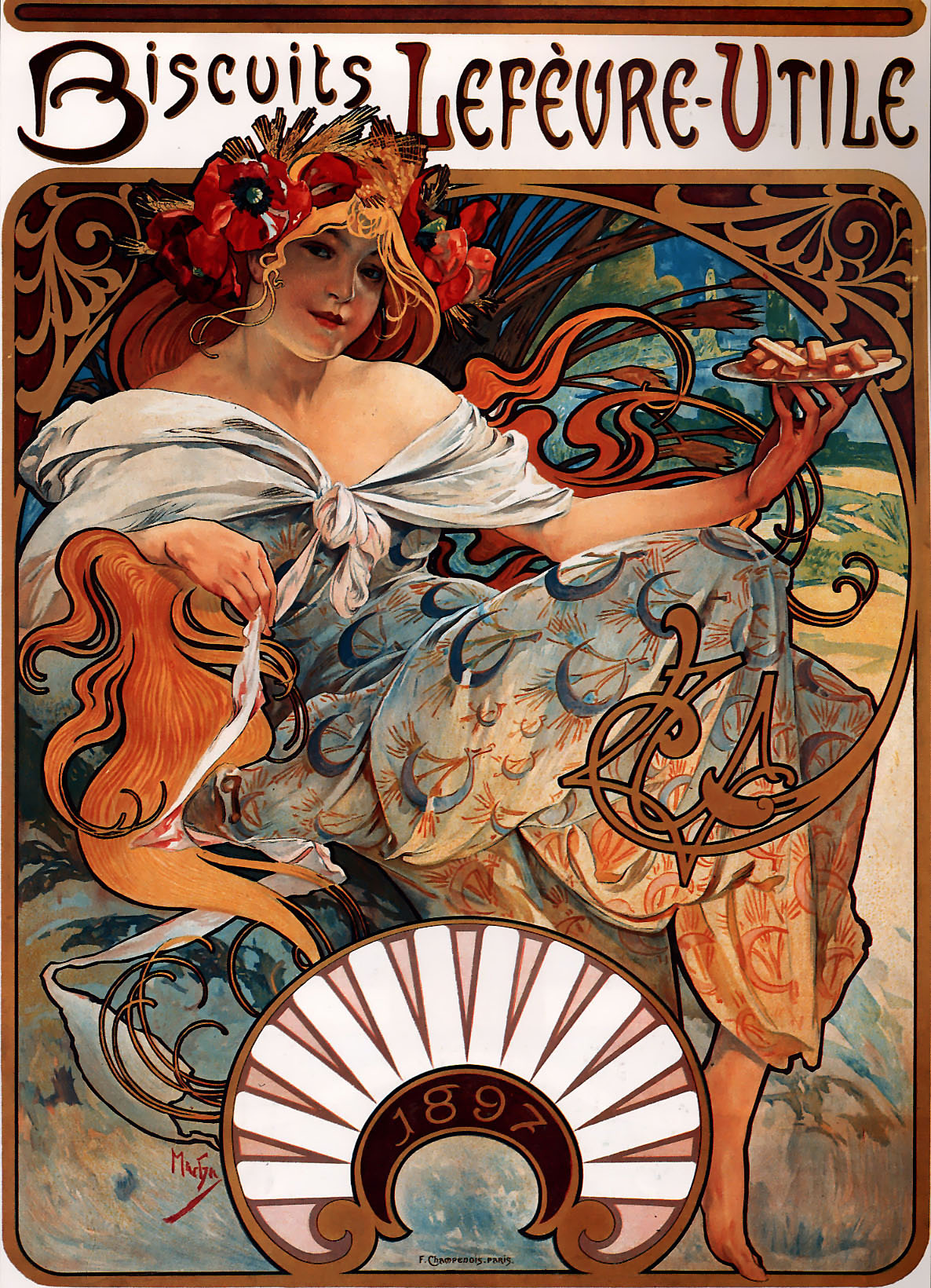 Biscuits Lefèvre-Utile by Alphonse Mucha, 1896