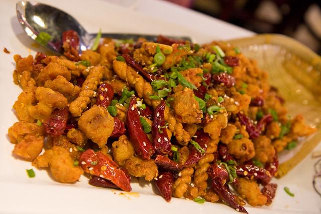Spicy chicken with fried dough twists, La Vie en Szechuan