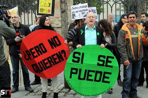Escrache ante la sede del PP en Sevilla