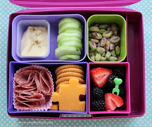Laptop Lunches school kindergarten lunch - puzzle cheese for autism awareness