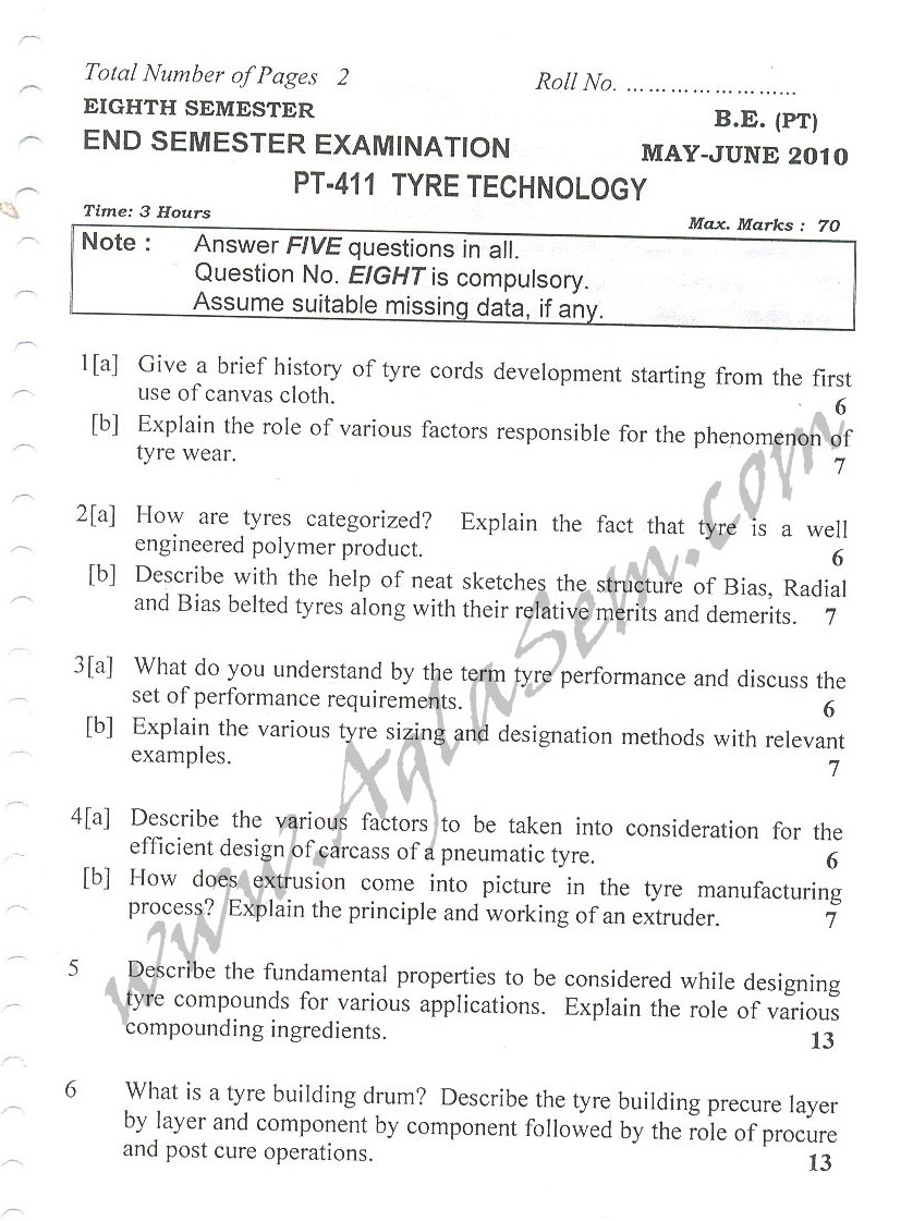 DTU Question Papers 2010 – 8 Semester - End Sem - PT-411