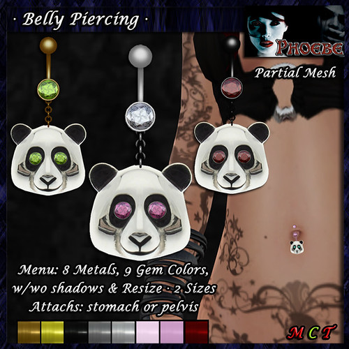 *P* Panda Belly Piercing ~8 Metals-9 Gems~
