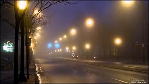 street morning ohio fog akron highlandsquare