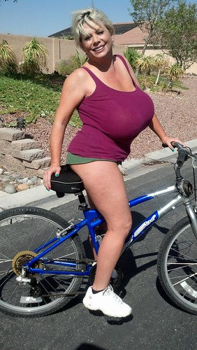 Big tits on bike