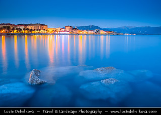France - Corsica Island - Ajaccio - Island's Capital City at Dusk - Twilight - Blue Hour