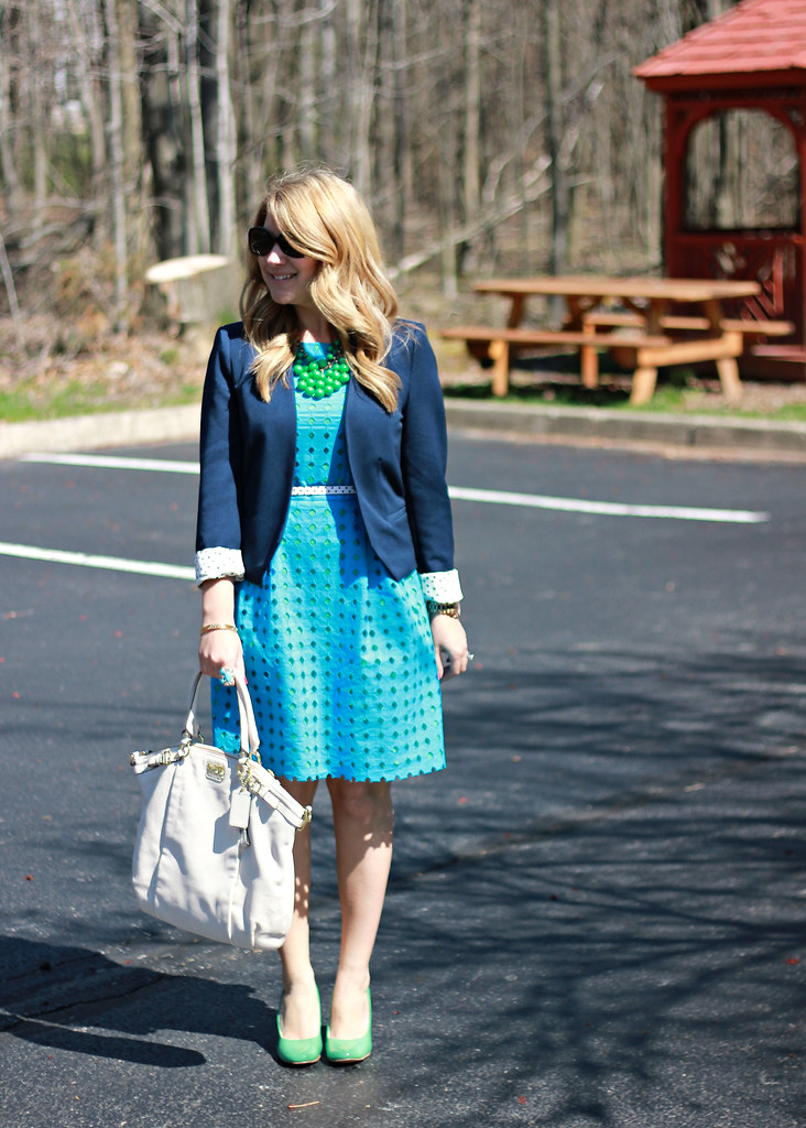 teal eyelet dress navy blazer work outfit spring