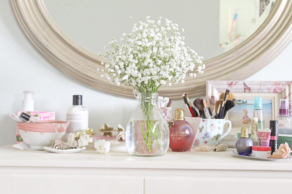flowers on dresser