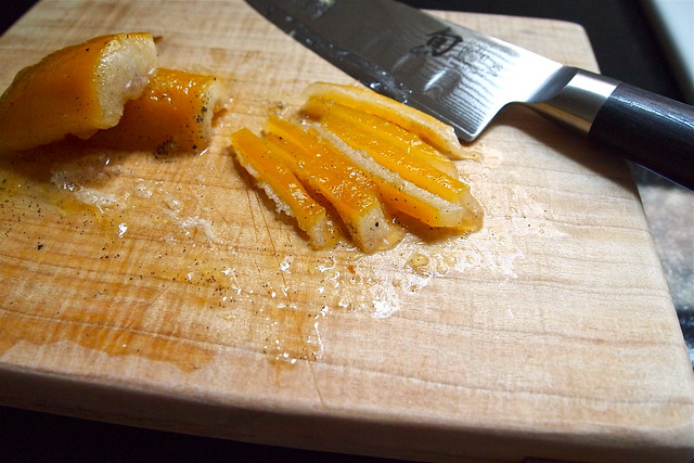 Slicing candied peel