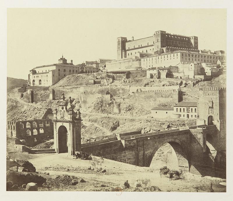 Puente de Alcántara, Artificio de Juanelo y Alcázar hacia 1858. Fotografía de Louis Léon Masson © Bibliothèque Nationale de France