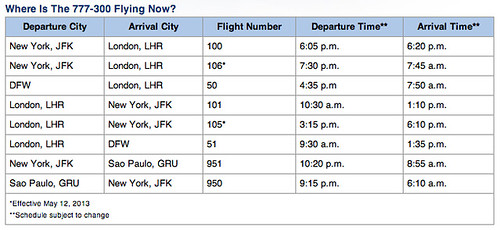 American Airlines 777-300ER Schedule