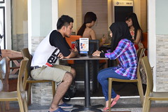 Couple, Chatting, near Arab Street, Singapore