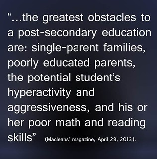 "Interesting Quote:  ""Obstacles to post-secondary"""