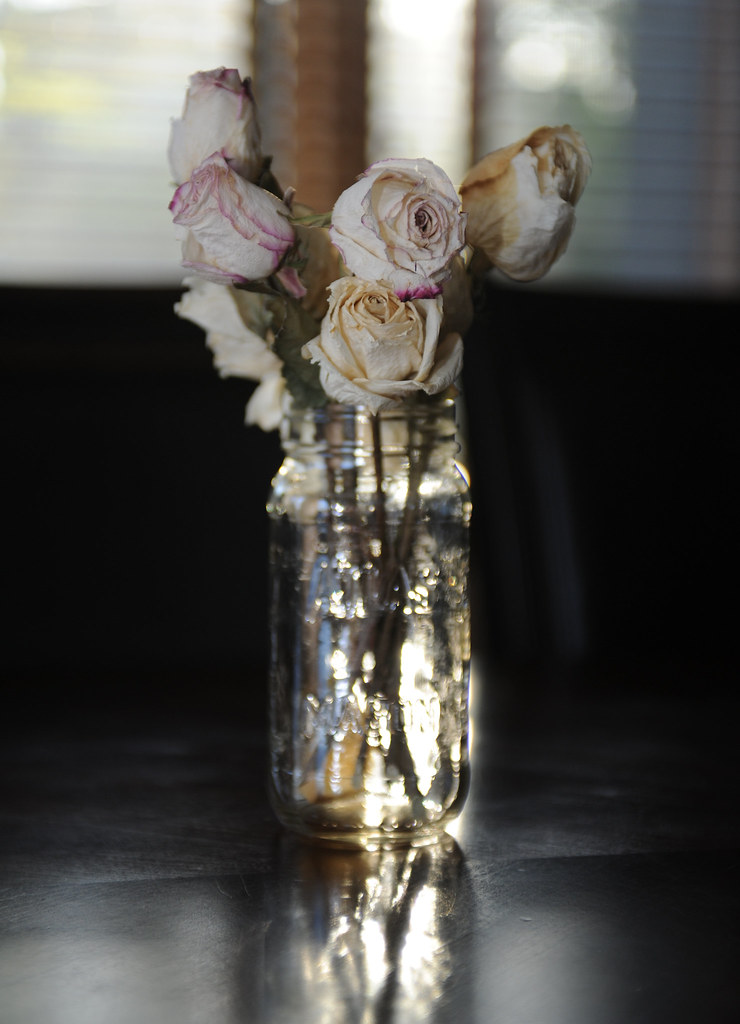 Dried Roses in a Mason Jar