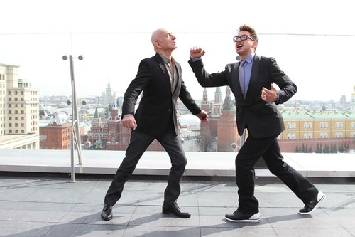 "MARVEL's ""Iron Man 3"" Moscow Press Tour_Sir Ben Kingsley and Rob"