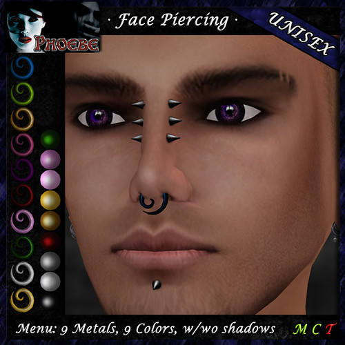 *P* Unisex Spiral Face Piercing Q1 ~9 Metals-9 Colors~