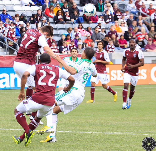 Shane O'Niell (Rapids), Marvell Wynne (Rapids), Ryan Johnson (Timbers), Colorado Rapids Host Portland Timbers at Dick's Sporting Goods Park Colorado by Corbin Elliott Photography