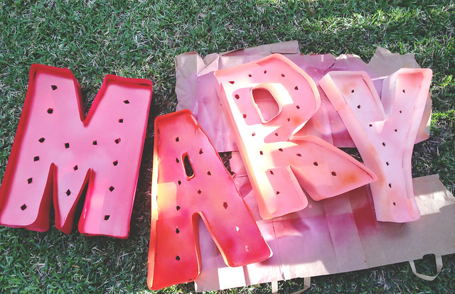 mary letters being painted