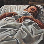 Sleeping  Man (with mustache); oil on canvas, 18 x 24 in, 2016