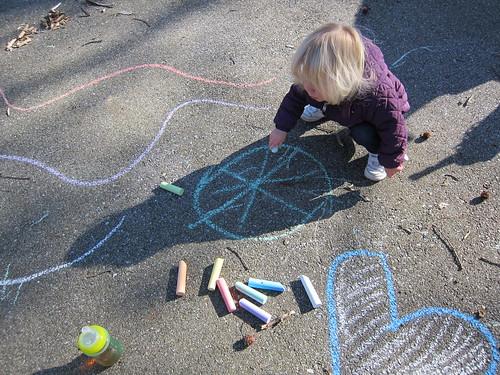 Sidewalk chalk on the driveway