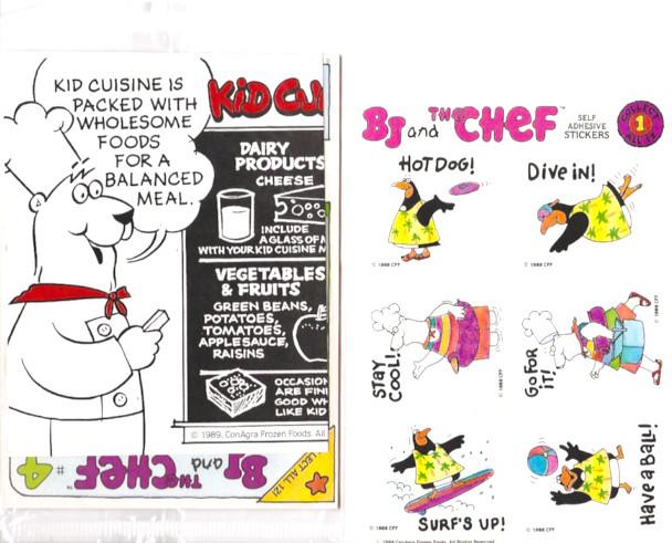 1988 ConAgra Frozen Kid Cuisine B.J. and the Chef TV Dinner Premiums
