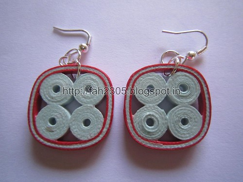 Handmade Jewelry - Paper Quilling Earrings (Four Rounds Square) (2) by fah2305
