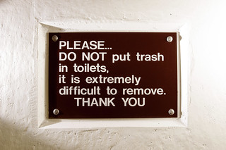 PLEASE… DO NOT put trash in toilets, it is extremely difficult to remove. THANK YOU