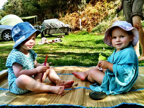 Olivia and Milly, snacking.