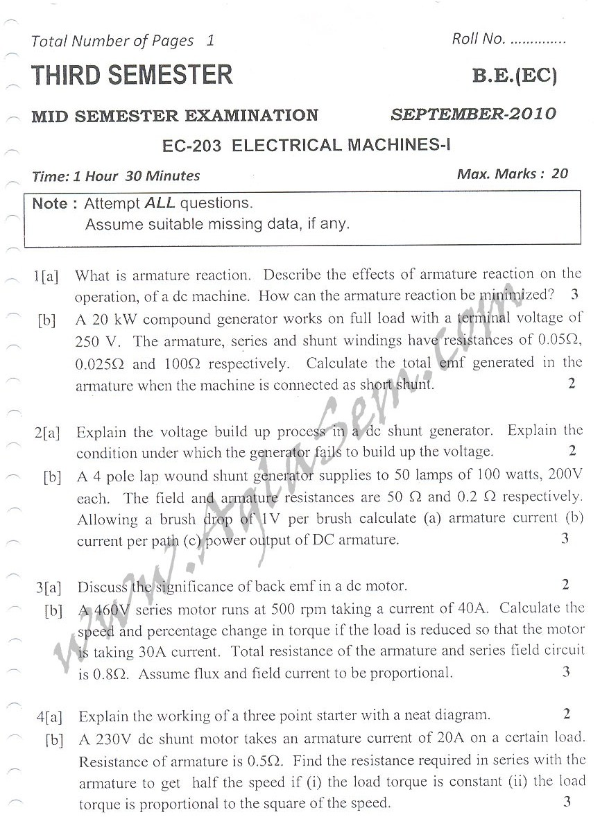 DTU Question Papers 2010 – 3 Semester - Mid Sem - EC-203