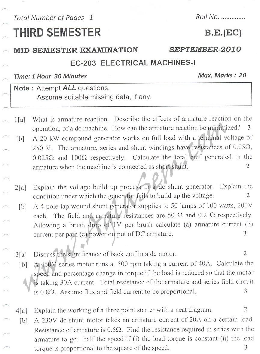 DTU Question Papers 2010 – 3 Semester - Mid Sem - EC-203