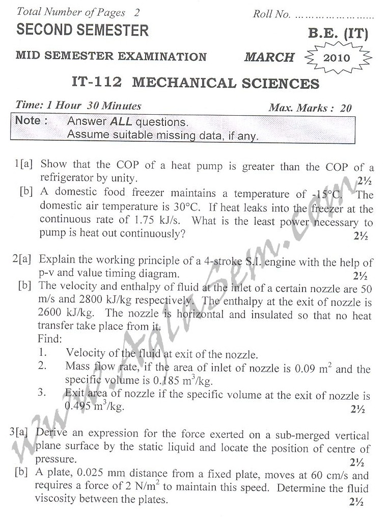 DTU Question Papers 2010 – 2 Semester - Mid Sem - IT-112