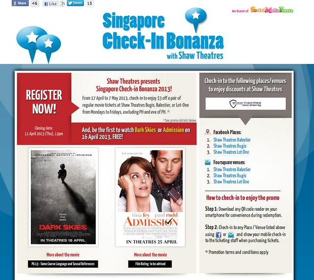 omy.sg launches Singapore Check-In Bonanza 2013 with Shaw Theatres  - Alvinology