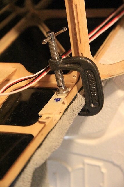 Port latch mounting plate - glued and clamped