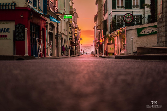 Magic sunset, street and ocean in Biarritz
